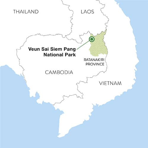 The Veun Sai-Siem Pang National Park is located in northeast Cambodia's Ratanakiri province, near the borders with Laos and Vietnam.