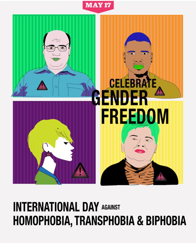 A graphic with four brightly colored squares containing one cartoon person each of different ethnicities. It reads, 'Celebrate Gender Freedom' and International Day Against Homophobia, Transphobia & Biphobia.'
