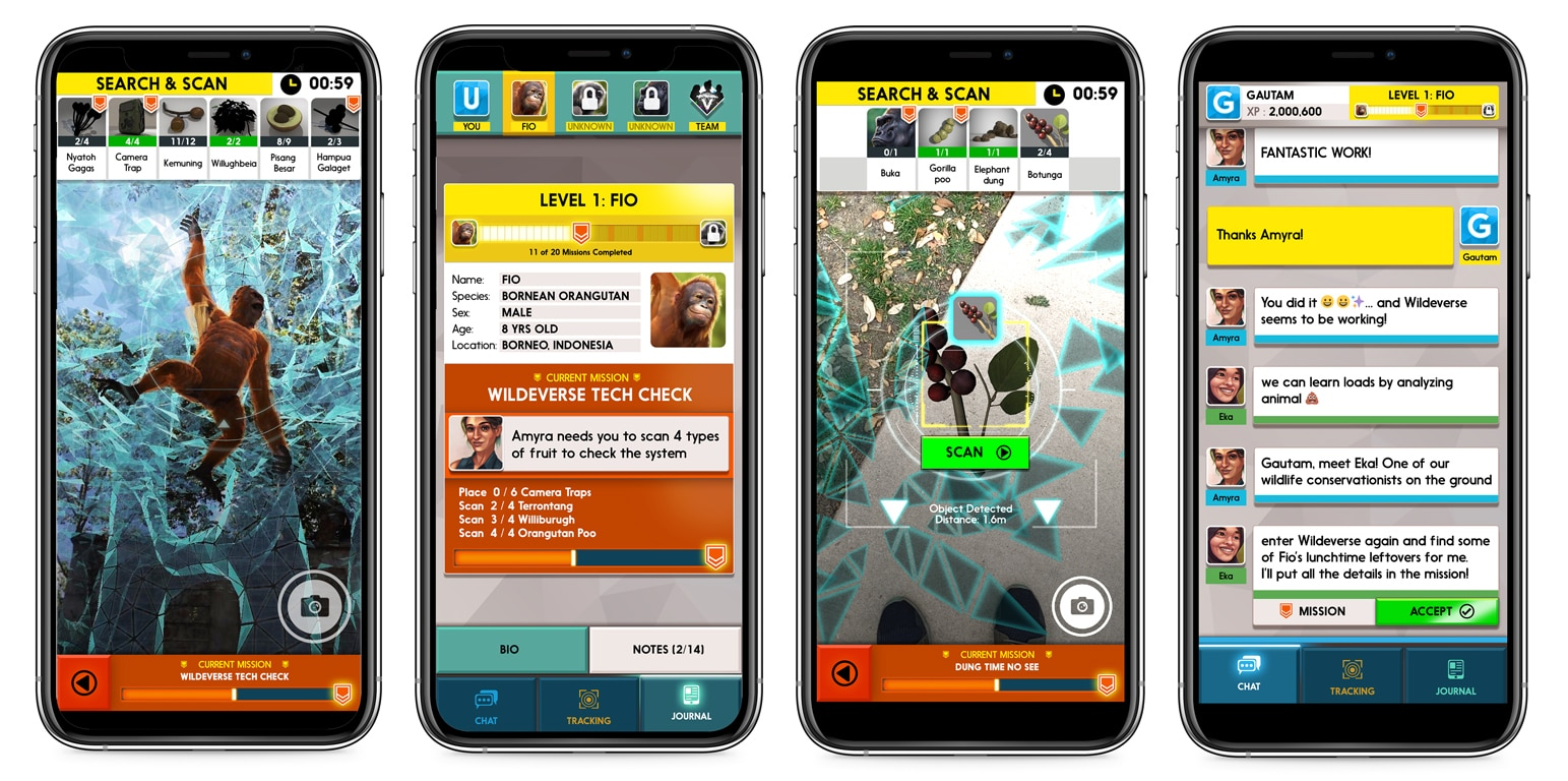 Four cell phone screens showing different points of the Wildeverse game, including finding an orangutan in a tree and chatting with a researcher about the player's mission to scan fruit.
